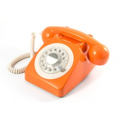 Retro Rotary Telephone - Orange