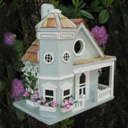 Flower Pot Cottage Bird House - Light Blue