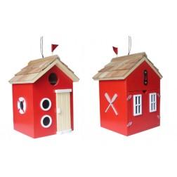 Beach Hut Bird House - Red
