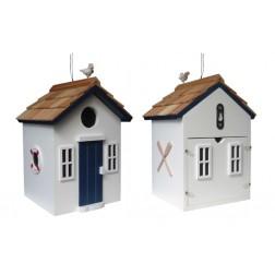 Beach Hut Bird House - White