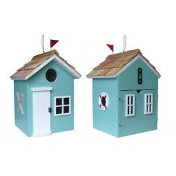Beach Hut Bird House - Turquoise