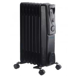 7 Fin 1.5kW Oil Filled Radiator Heater - Black