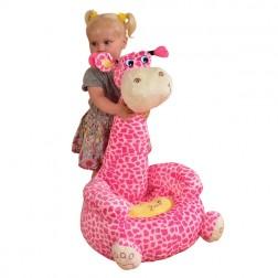 Plush Giraffe Sitting Chair Pink