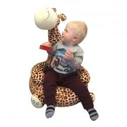 Plush Giraffe Sitting Chair Brown