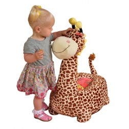 Plush Giraffe Riding Chair Brown