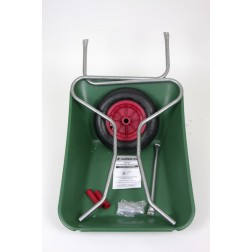 Outdoor Garden Green Coloured Self Assembly Plastic Wheelbarrow - 85 litre Pan