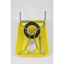 Outdoor Garden Coloured Yellow Self Assembly Plastic Wheelbarrow - 85 litre Pan