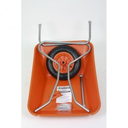Outdoor Garden Orange Self Assembly Plastic Wheelbarrow - 85 litre Pan