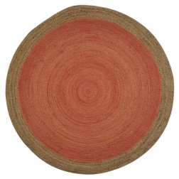 Orange Round Jute Rug - 120 x 120cm