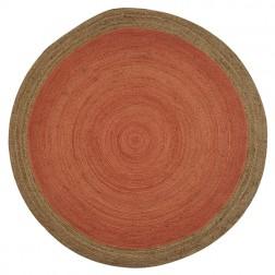 Orange Round Jute Rug - 200 x 200cm