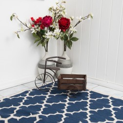 Blue White Reversible Patterned Rug