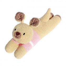 Laying Kangaroo Knitted Soft Toy Pink