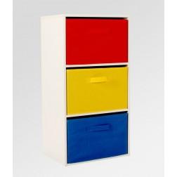 3 Drawer Rainbow Storage Unit - Red/Yellow/Blue