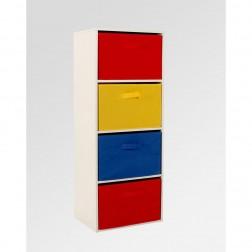4 Drawer Rainbow Storage Unit - Red/Yellow/Blue