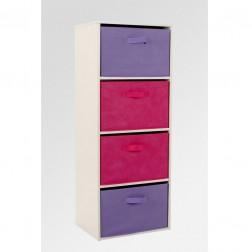 4 Drawer Rainbow Storage Unit - Pink/Purple