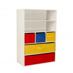 5 Layer Rainbow Storage Unit - Red/Yellow/Blue