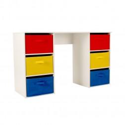 6 Drawer Rainbow Desk - Red/Yellow/Blue