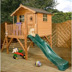 Kingsdale 5' x 5' Outdoor Children's Playhouse with Slide & Tower