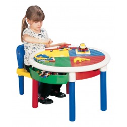 Kids Round 4 Drawer 2-in-1 Lego Construction Activity Play Table