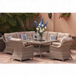 Casamoré Madrid Natural Corner Dining Set with Two Armchairs
