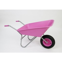Outdoor Garden Pink Coloured Self Assembly Plastic Wheelbarrow - 85 litre Pan