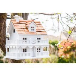 Cottage Mounted Bird House - White
