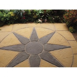 Quality Paving Circle & Sq Off Kit 2.25m Square In A Stunning Midnight Star Design For Garden/ Patio