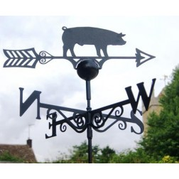 Black Pig Weathervane in Solid Steel
