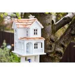 Prairie Farmhouse Bird House - White