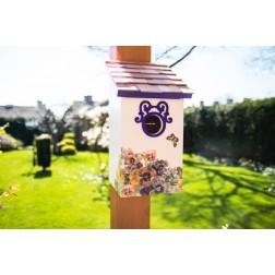 Printed Saltbox Bird House - Butterfly Plum
