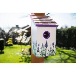 Printed Saltbox Bird House - Lavender