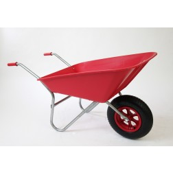 Outdoor Garden Coloured Red Self Assembly Plastic Wheelbarrow - 85 litre Pan