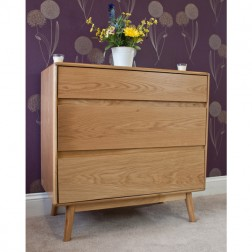 Retro Style Oak 3 Drawer Chest