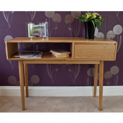 Retro Style Oak 1 Drawer and Shelf Console Table