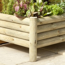 Attractive Raised Log Design Planter - Ideal For Use As A Small Raised Bed