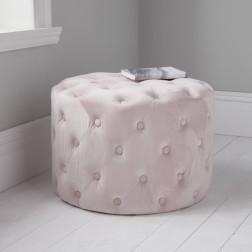 Velvet Tufted Footstool - Pink