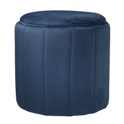 Velvet Round Footstool - Mystique Blue