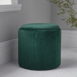 Velvet Round Footstool - Deep Green