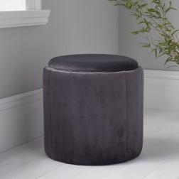 Velvet Round Footstool - Grey