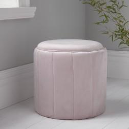 Velvet Round Footstool - Pastel Pink