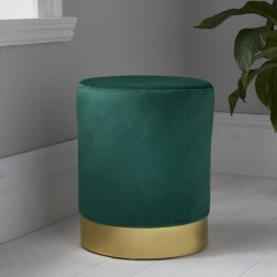Velvet Pouffe Footstool - Gold/Green