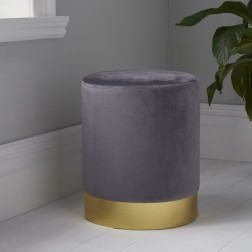 Velvet Pouffe Footstool - Gold/Grey