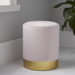 Velvet Pouffe Footstool - Gold/Pink