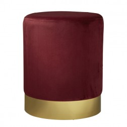 Velvet Pouffe Footstool - Gold/Red