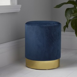 Velvet Pouffe Footstool - Gold/Blue