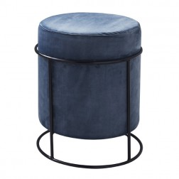 Velvet Pouffe Footstool - Dark Grey