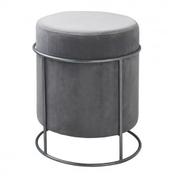 Velvet Pouffe Footstool - Light Grey