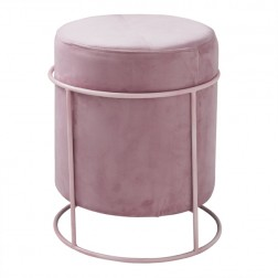 Velvet Pouffe Footstool - Pink