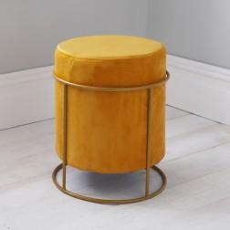Velvet Pouffe Footstool - Mustard Yellow