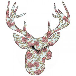 Flower Stag Head Wall Clock